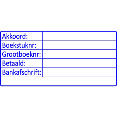 boekhoud stempel, nr.2103, afmeting: 70mm x 35mm