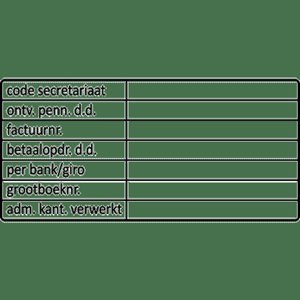 administratie stempel, nr.2104, afmeting: 70mm x 35mm