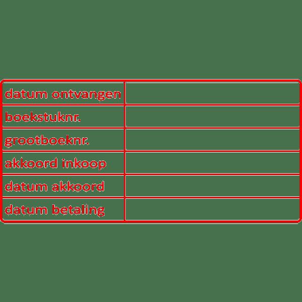 boekhoud stempel, nr.2129, afmeting: 70mm x 35mm