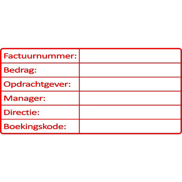 administratie stempel, nr.2133, afmeting: 70mm x 35mm