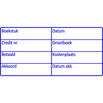 boekhoud stempel, nr.2142, afmeting: 70mm x 35mm