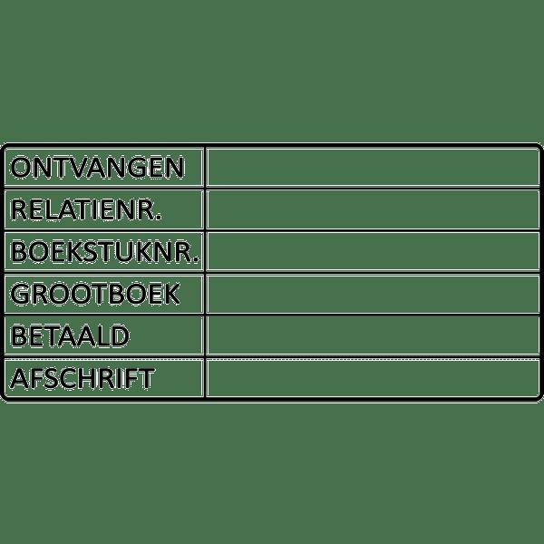 boekhoud stempel, nr.2151, afmeting: 70mm x 35mm