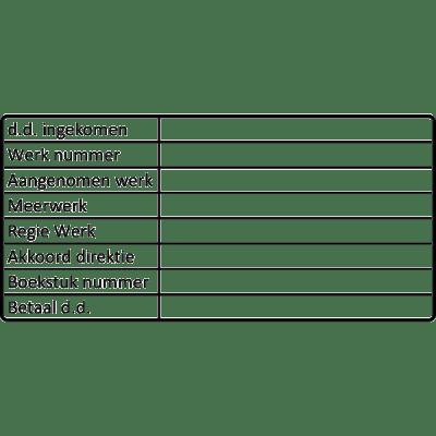 administratie stempel, nr.2171, afmeting: 70mm x 35mm