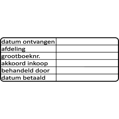 administratie stempel, nr.3034, afmeting: 70mm x 30mm