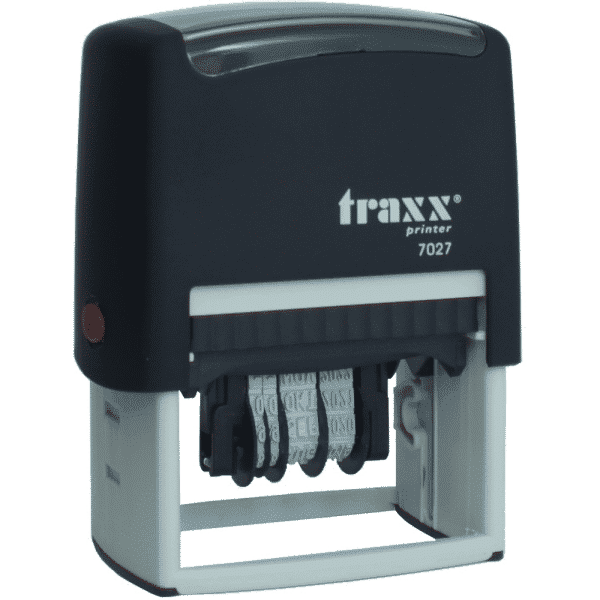 Tekst met datum stempel 4mm, compacte-uitvoering nr.7027, afmeting: 25mm x 5mm