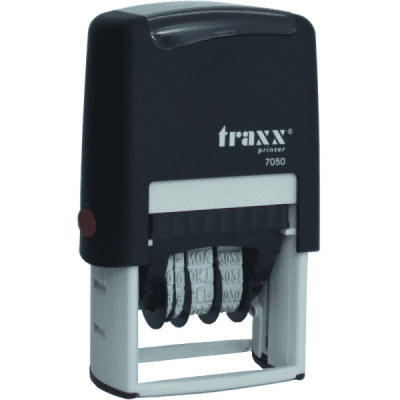 Tekst met datum stempel 4mm, compacte-uitvoering nr.7050, afmeting: 42mm x 26mm
