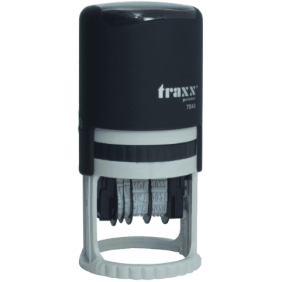 Tekst met datum stempel 3mm, compacte-uitvoering nr.7130, afmeting: rond 30mm