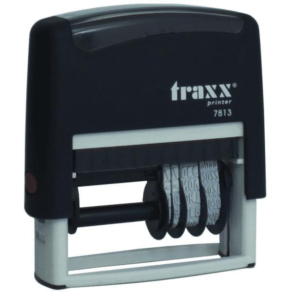 Tekst met datum stempel 4mm, compacte-uitvoering nr.7813, afmeting: 26mm x 9mm